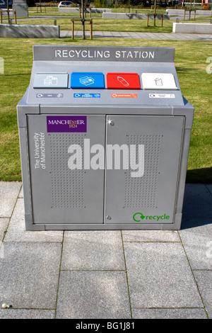 Recycling facilities, University of Manchester, UK. - Stock Photo