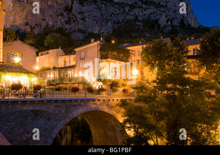 Moustiers-Sainte-Marie at dusk, Alpes-de-Haute-Provence, Provence, France, Europe - Stock Photo