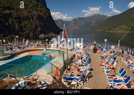 View over the aft pool and sundeck, Flaams, Fjordland, Norway, Scandinavia, Europe - Stock Photo