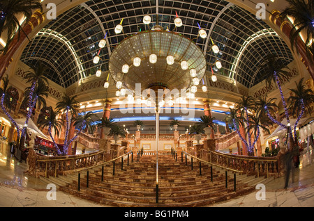 UK, England, Manchester, Trafford Centre shopping mall, Orient Great Hall decorated for Christmas wide angle view - Stock Photo