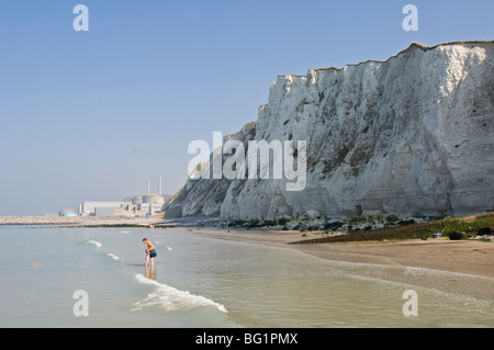 Beach and chalk cliffs,  Nuclear Power Station in the background, near Dieppe, Seine Maritime, Normandy, France - Stock Photo