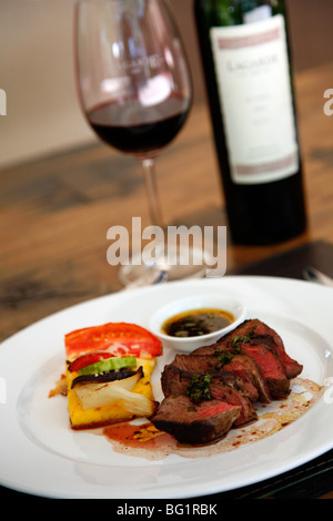 Filet mignon dish at the upmarket restaurant of Lagarde winery, Lujan de Cuyo, Mendoza, Argentina, South America - Stock Photo