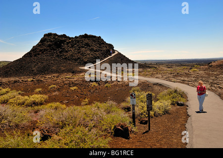 Visitor at Craters of the Moon National Monument, Idaho, USA. - Stock Photo
