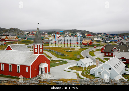 View over houses and the Frelsers Kirke (Our Saviour Church) in the Kolonihavn, Nuuk, Greenland, Polar Regions - Stock Photo