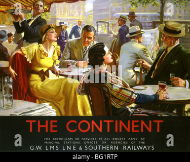 PARISIAN CAFE LIFE  British railway companies promote travel to the Continent in the 1920s - Stock Photo