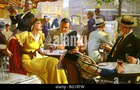 PARISIAN CAFE LIFE in 1930s - Stock Photo