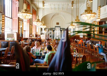 The Municipal House Cafe at Obecni Dum, Stare Mesto, Prague, Czech Republic, Europe - Stock Photo