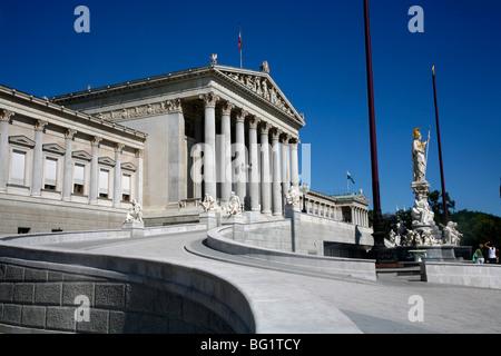 Parliament building and Athena statue, Vienna, Austria, Europe - Stock Photo