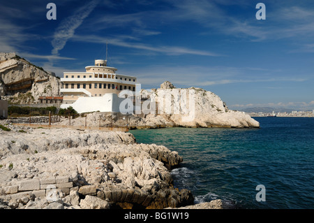 Boat-Shaped Pilotage Station in Shape of Ship or Boat on Ratonneau Island, Frioul, Marseille or Marseilles Bay, - Stock Photo