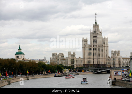 Stalin era building at Kotelnicheskaya embankment, one of Seven Sisters which are seven Stalinist skyscrapers, Moscow, Russia Stock Photo
