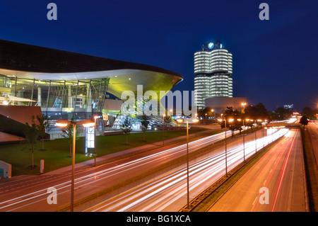 BMW Welt and Headquarters illuminated at night, Munich (Munchen), Bavaria, Germany, Europe - Stock Photo