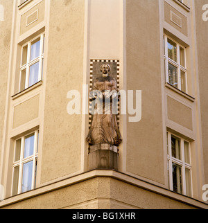 World Travel. Statue on a house in Josefov in the city of Prague in the Czech Republic in Eastern Europe. Culture - Stock Photo