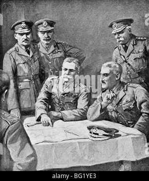 Contemporary World War One illustration of Field Marshal Douglas Haig and British Generals planning the Third Battle - Stock Photo