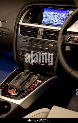 Audi A5 Sportback built in sat nav system - Stock Photo