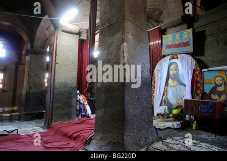 Medhane Alem church interior, Lalibela,  Ethiopia - Stock Photo