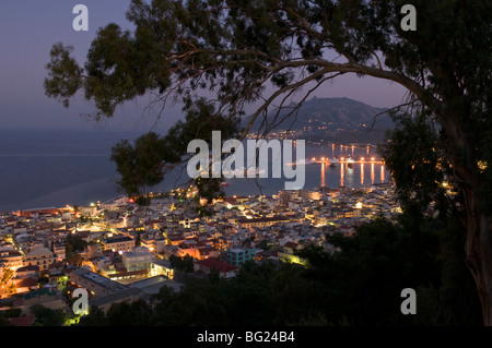 Greece. Zakynthos. Zante. Greek island. October. Zakinthos Town seen from the hill of Bochali. After sunset. - Stock Photo