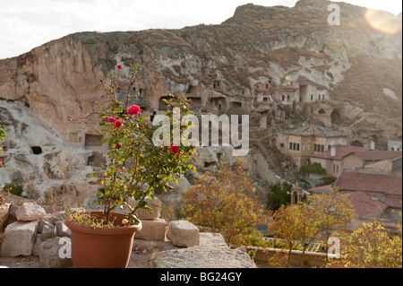 Rose on terrace of hillside in Urgup, with view of cave dwellings. Cappadocia in Nevsehir Province, Turkey - Stock Photo