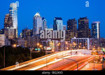 Dusk skyline of Philadelphia, Pennsylvania Stock Photo