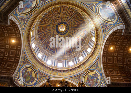 The dome interior of St Peter's by Michelangelo , The Vatican, Rome - Stock Photo