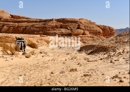 Mountains and off road 4 wheel drive car in desert South Sinai, Egypt - Stock Photo