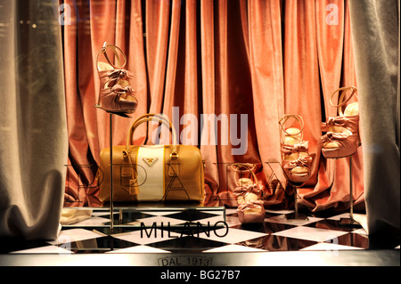 Shop window at the Prada store in Fifth Avenue New York USA - Stock Photo