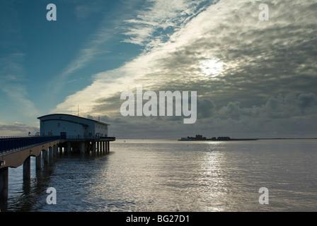 Piel Island, near Barrow-in-Furness, and the lifeboat station on Roa Island, Cumbria, England UK - Stock Photo