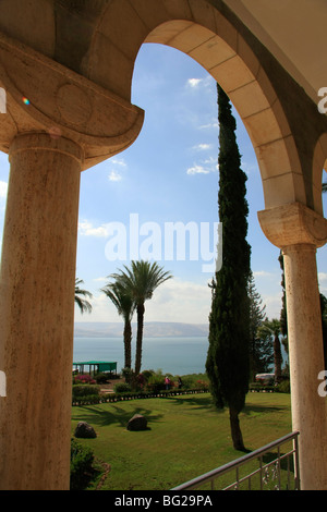 Israel, the Church of Beatitudes on the Mount of Beatitudes overlooking the Sea of Galilee - Stock Photo