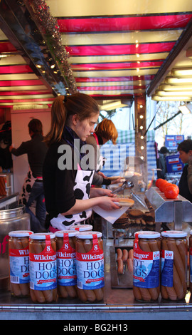 A hot dog stand at the Lincoln Christmas Market, Lincoln, England, U.K. - Stock Photo