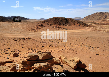Off road track in south Sinai desert with 4 wheel drive car, Egypt - Stock Photo