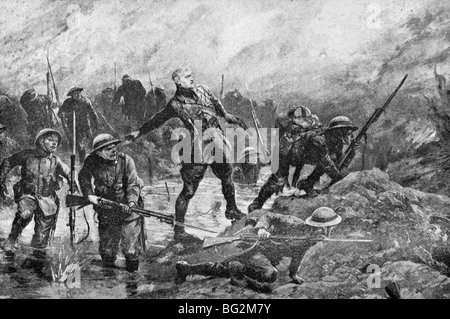 Contemporary WW1 illustration of British troops carrying out a moonlight assault against German lines on the Somme - Stock Photo