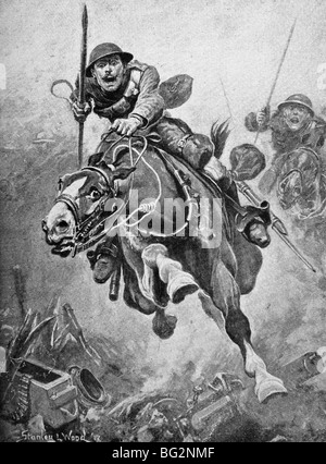 Contemporary World War One illustration of a cavalry charge by British troops in France. - Stock Photo
