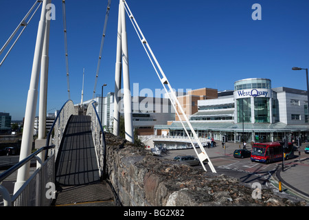 West Quay Shopping Centre and Arundel Bridge, showing part of the medieval walls in foreground - Stock Photo
