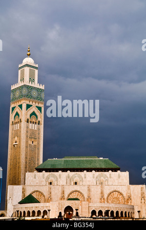 Hassan II mosque is the world's third largest mosque. The Mosque was open in 1993 for the former king 60th birthday. - Stock Photo