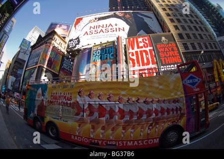 Billboards in Times Square advertising Broadway shows on Friday, May 22, 2009. (© Frances M . Roberts) - Stock Photo