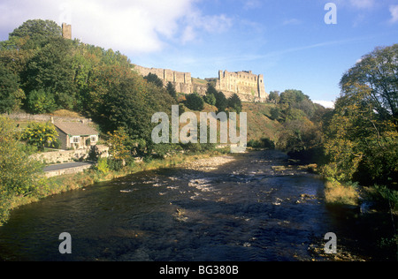 Richmond Castle Yorkshire River Swale England UK English castles rivers medieval landscape scenery - Stock Photo