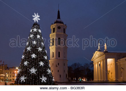 Christmas tree in the Cathedral square, Vilnius, Lithuania - Stock Photo