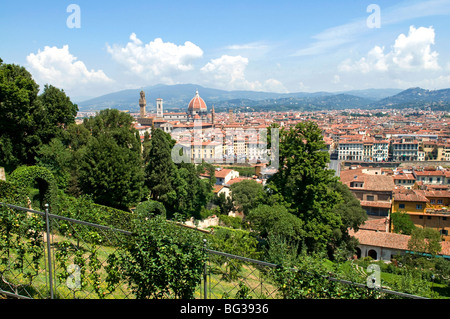 Panoramic view out over Florence from the Bardini Garden, The Bardini Garden, Florence (Firenze), Tuscany, Italy, - Stock Photo