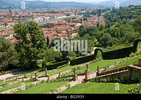 Panoramic view over River Arno and Florence from the Bardini Gardens, Florence (Firenze), Tuscany, Italy, Europe - Stock Photo