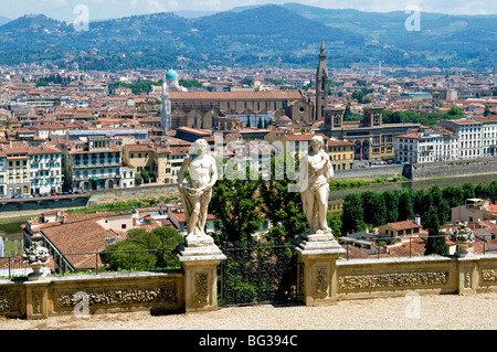 Panoramic view over River Arno and Florence from the Bardini Gardens, Bardini Garden, Florence (Firenze), Tuscany, - Stock Photo