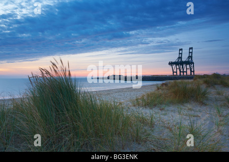 The site of the Great Yarmouth Outer Harbour pictured in a latter stage of construction - Stock Photo