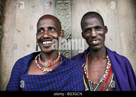 Maasai tribesmen on the island of Lamu, Kenya, East Africa, Africa - Stock Photo