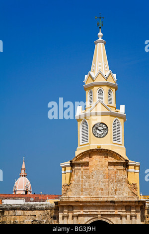 The Clock Tower, Old Walled City District, Cartagena City, Bolivar State, Colombia, South America - Stock Photo