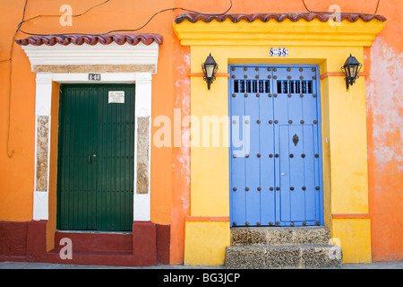 Doors in Old Walled City District, Cartagena City, Bolivar State, Colombia, South America - Stock Photo