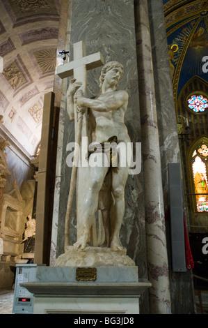 Michelangelo's Christ the Redeemer near the altar inside Santa Maria sopra Minerva (Basilica of Saint Mary Above - Stock Photo