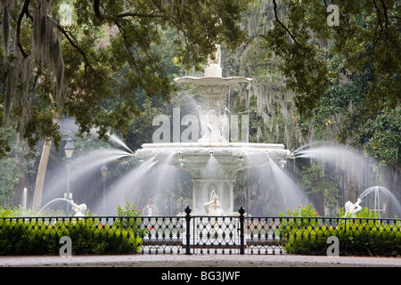 Fountain, Forsyth Park, Savannah, Georgia, United States of America, North America - Stock Photo