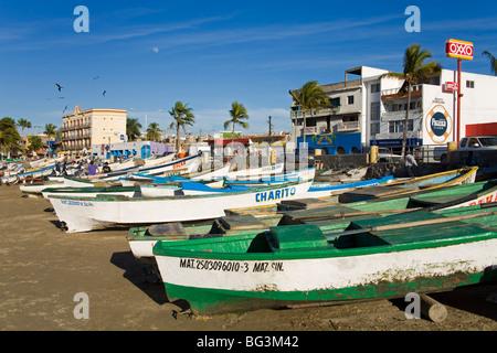 Fishing Boats on Playa Norte, Mazatlan, Sinaloa State, Mexico, North America - Stock Photo