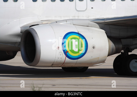 CFM International CFM56 turbofan jet engine nacelle on the wing of a Transavia Boeing 737-700 commercial passenger - Stock Photo