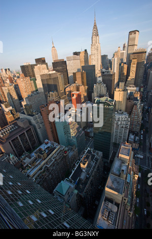 Wide angle view of the city skyline including the Chrysler Building and Empire State Building, Manhattan, New York, - Stock Photo