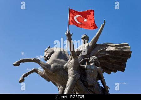 Ataturk statue in the Old Town of Antalya, Anatolia, Turkey, Asia Minor, Eurasia - Stock Photo