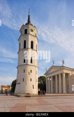 Cathedral Square (Katedros aikste), Cathedral and 57m tall Belfry, Vilnius, Lithuania, Baltic States, Europe - Stock Photo